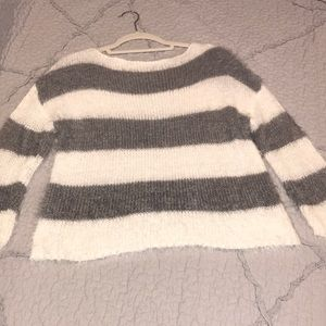 NWOT Promesa Ivory and Grey Striped sweater